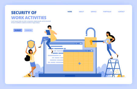 people secure job data on spreadsheets. Woman holding key to open security padlock. Security system shield. Can be use for landing page template UI ux web mobile app poster banner website flyer ads