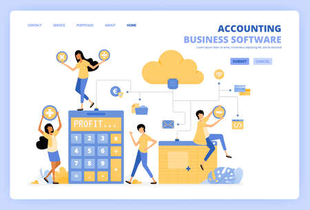 People access cloud accounting software with spreadsheets, risk calculators and financial banking tools. Can be use for landing page template ui ux web mobile app poster banner website flyer ads