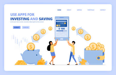 people use mobile apps to saving and investing money in 4.0 cashless society. vector illustration concept can be use for landing page, template, ui ux, web, mobile app, poster, banner, website, flyer