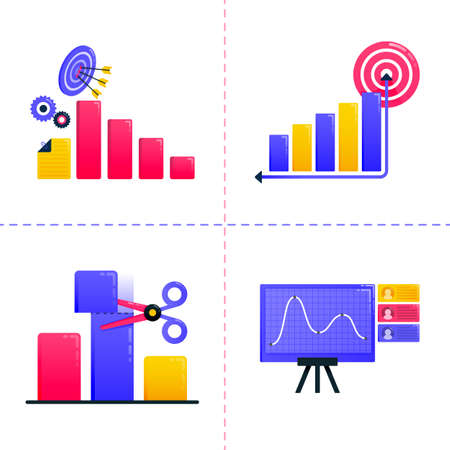 logo design icon of finance, business, marketing, financial analysis, charts and achieve goal targets. Icon pack template can be use for landing page, ui, web, mobile app, poster, banner, website