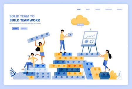solid teamwork in building relationships. brainstorming in build success. vector illustration concept can be use for landing page, template, ui ux, web, mobile app, poster ads, banner, website, flyer