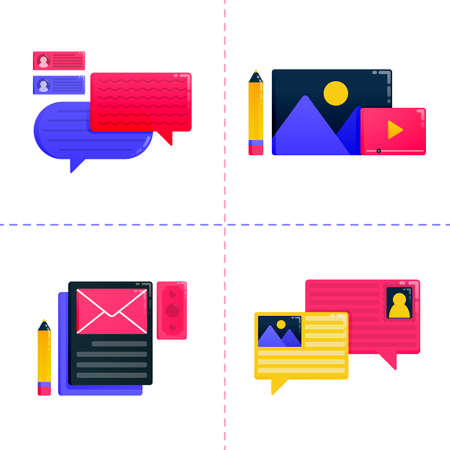 logo design icon of education, learning and scholarship with balloon chat and communication. Icon pack template can be use for landing page, ui ux, web, mobile app, poster ads, banner, website, flyer Ilustração