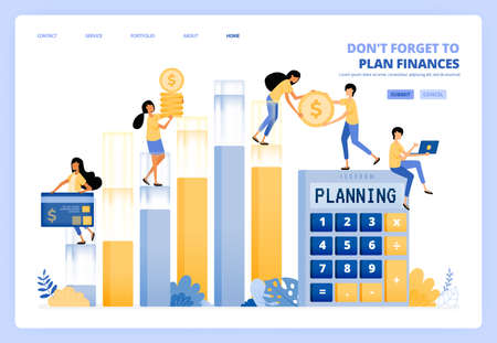 planning personal and company financial management. finance accounting. vector illustration concept can be use for landing page, template, ui ux, web, mobile app, poster ads, banner, website, flyer Ilustração