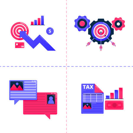 logo design icon of business chart, bubble chat and achieve target of goals, financial tax analysis strategy. Icon pack template can be use for landing page, web, mobile app, poster, banner, website Ilustração
