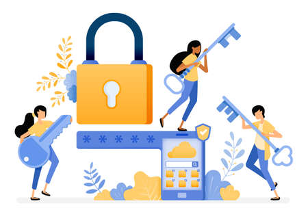 Banner vector design of mobile security system with password and smart protection technology. Illustration concept be used for landing page, template, ui ux, web, mobile app, poster, banner, website
