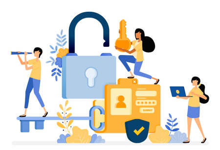 Banner vector design of folder with a password and username security for personal data protection. Illustration concept be used for landing page, template, ui, web, mobile app, poster, banner, website Ilustração