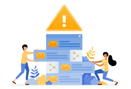 Banner vector design of error alerts for sorting incoming emails contain malware viruses. Illustration concept can be use for landing page, template, ui ux, web, mobile app, poster, banner, website