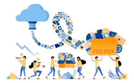 Banner vector design of transfer and save media document data to cloud system storage tech. Illustration concept can be use for landing page, template, ui, web, mobile app, poster ads, banner, website Ilustração