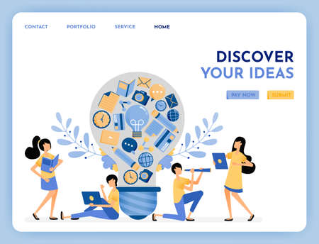 Metaphor of discovery idea. Find inspiration and ideas. 3d style symbol of learning, education, financial, hobby and camera. Growing creativity. Illustration for landing page, web, website, poster, ui