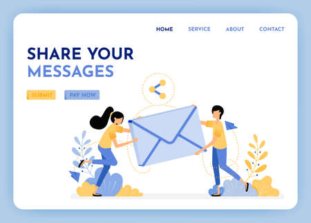 Sharing and sending email. Woman and man holding 3d envelope to communication and discussion. Send messages with internet. Email with 3d style. Illustration for landing page, web, website, poster, ui