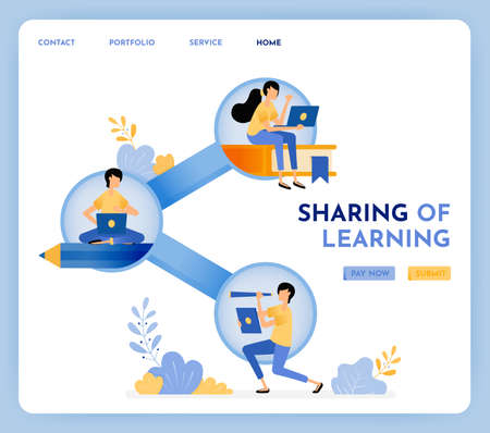 Social distancing in learning and school to share. Technology in education with internet network. 3d style design of pencil, share and book. Illustration for landing page, web, website, poster, ui ux