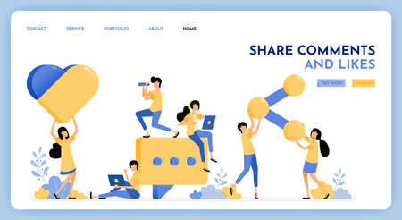 People leave comment, like, share on social media posts. Giant 3d style of social media button icon. Message and communication vector design. Illustration for landing page, web, website, poster, ui Ilustração