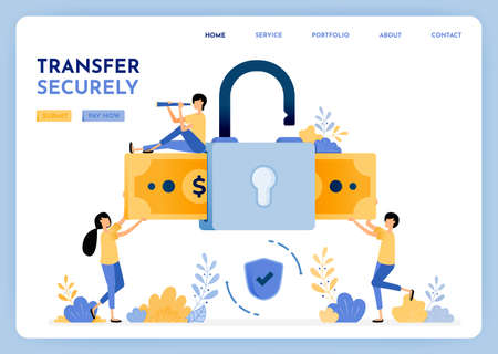 Transfer money with security and and comfortably with data protection and mobile user privacy. 3d style padlock and money for finance and bank. Illustration for landing page, web, website, poster, ui Ilustração