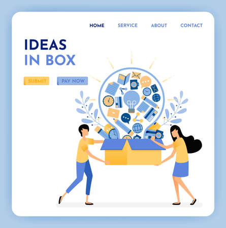 Metaphor ideas out of the box. Find inspiration and ideas for business learning and education. 3d style of box and light bulb. Growing creativity. Illustration for landing page, web, website, poster