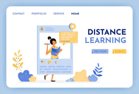 Women teach math on social media. Distance learning is the future of education. Education and learning apps platform for students and schools. Illustration for landing page, web, website, poster, ui