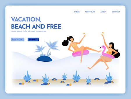 travel website with the theme of vacation, beach and free. holiday together with service swim in tropical sea. Vector design can be used for poster, banner, ads, website, web, mobile, marketing, flyer