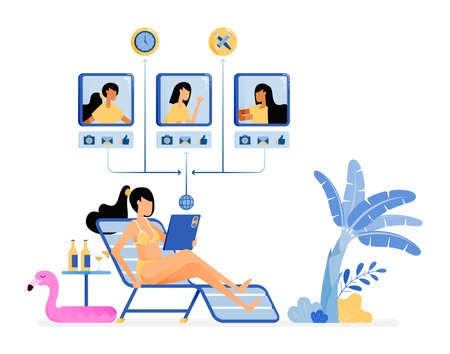 happy vacation illustration of women are sunbathing and enjoying a holiday by the beach keep working and have virtual meetings. Vector design can be used for poster, banner, ad, website, web, mobile