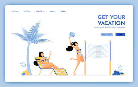 travel website with the theme of get your vacation. Enjoy holiday travel services to tropical island beaches. Vector design can be used for poster, banner, ads, website, web, mobile, marketing, flyer