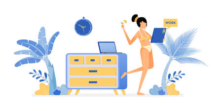 happy vacation illustration of freelance women in sexy swimsuits are still cool to work on holiday like work at home. Vector design can be used for poster, banner, ad, website, web, mobile, marketing Ilustração