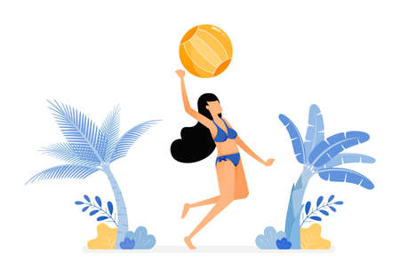 holiday illustrations of women in sexy swimsuits jump smash hit a volleyball in beachside . stress relieve beach sport. design concept can be for poster, banners, ads, websites, web, mobile, marketing Ilustração