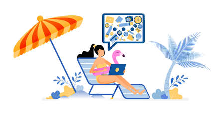 happy vacation illustration of women are sunbathing on beach with umbrellas are still cool to doing her work. freelancer holiday. Vector design can be used for poster, banner, ad, website, web, mobile