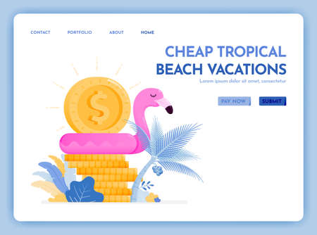 travel website with the theme of cheap tropical beach vacation. enjoy holiday in excotic destination at best prices. Vector design can be used for poster, banner, ads, website, web, marketing, flyer Ilustração