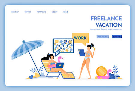 travel website with the theme of freelancer vacation. keep working with internet access service at holiday. Vector design can be used for poster, banner, ads, website, web, mobile, marketing, flyer