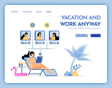 travel website with the theme of vacation and work anyway. virtual meeting on beach with internet service on vacation. Vector design can be used for poster, banner, ads, website, web, marketing, flyer