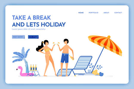 travel website with the theme of take a break and lets holiday. beach vacation trip. fun service for couple. Vector design can be used for poster, banner, ads, website, web, mobile, marketing, flyer Ilustração