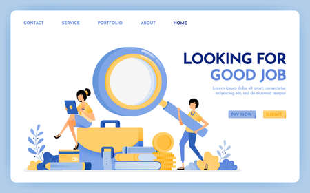 Illustration of apply for job. Jobseeker holds a magnifying glass to find work. Young women sit on briefcases stacks of stationery. Design concept for banner, landing page, web, website, poster, ui ux Ilustração