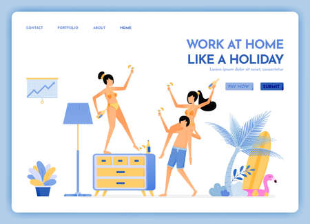travel website with theme of work at home like holiday. travel to tropical island beaches and keep working via internet. Vector design can be used for poster, banner, ads, website, web, mobile, flyer