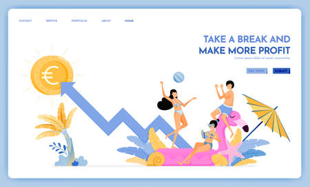 travel website with theme of take a break and make more profit. enjoy traveling and vacationing to support growth. Vector design can be used for poster, banner, ads, website, web, marketing, flyer Ilustração