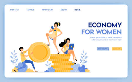 Illustration of economy for women. Men hold money and women sit on money for anti-patriarchy economy, finance, investment and banking. Design concept for banner, landing page, web, website, poster, ui Ilustração