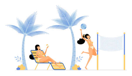happy vacation illustration of women relax enjoy holiday on beach by lying under coconut trees or playing volleyball. Vector design can be used for poster, banner, ad, website, web, mobile, marketing Ilustração