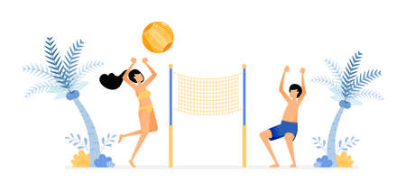 happy vacation illustration of couples enjoy a holiday on the beach by playing volleyball to unwind. fun beach sports. Vector design can be used for poster, banner, ad, website, web, mobile, marketing