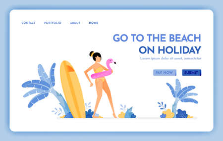 travel website with the theme of go to the beach on holiday. Enjoy vacation on natural tropical island beach. Vector design can be used for poster, banner, ads, website, web, mobile, marketing, flyer Ilustração