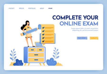 Illustration of work at home. Freelance woman holding a pencil and completing online exam or survey. Study at home with a laptop. Design concept for banner, landing page, web, website, poster, ui ux Ilustração
