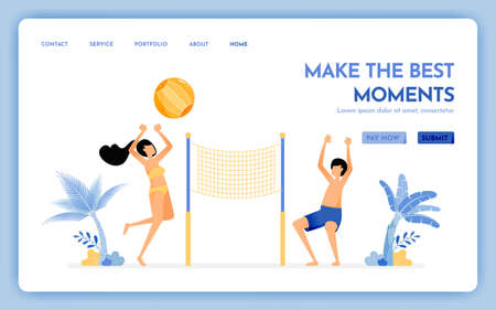 travel website with the theme of make the best moment at holiday. couple enjoying holidays by playing beach volleyball. Vector design can be used for poster, banner, ads, website, web, mobile, flyer