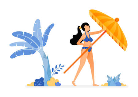 holiday illustrations of woman tries to open a beach umbrella and relax under a banana tree and sunshine. concept of isolated design can be for posters, banners, ads, websites, web, mobile, marketing