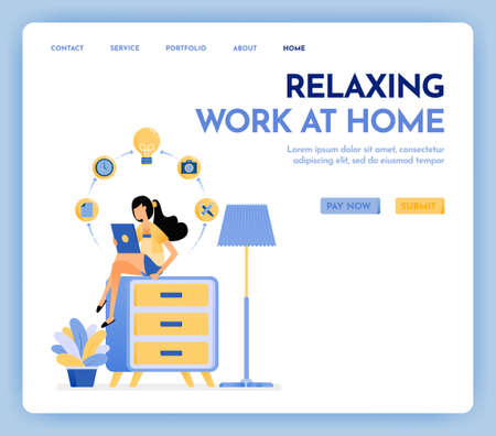 Illustration of work at home. Freelance woman working on tablet and sit at top of cupboard, dressed in cozy clothes to online study and education. Design concept for banner, landing page, poster, web