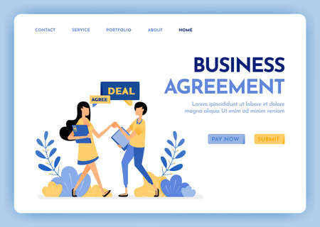 Illustration of refer a friend or business agreement. People shaking hands and agreeing strategy and plan. Corporate partnership. Design concept for banner, landing page, web, website, poster, ui ux Ilustração