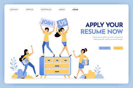 Illustration of join us hiring people. People applying for jobs by submitting resumes. We are hiring work at home for freelance jobs. Design concept for banner, landing page, web, website, poster, ui