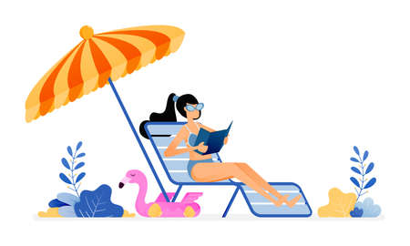 happy vacation illustration of woman sunbathing and enjoying a holiday by beach in peace. umbrellas and sun loungers. Vector design can be used for poster, banner, ad, website, web, mobile, marketing Ilustração