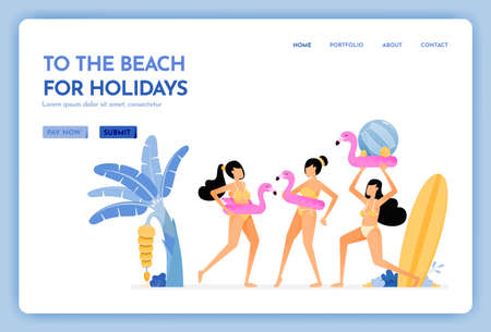 travel website with the theme of to the beach for holiday. women wearing sexy beach bikini and enjoy to swim. Vector design can be used for poster, banner, ads, website, web, mobile, marketing, flyer