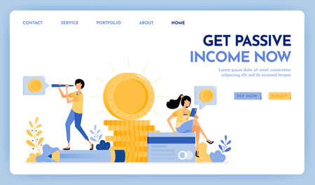 Illustration of get passive income. People earn passive income working from home. 3d pile of shining money and plastic credit cards. Design concept for banner, landing page, web, website, poster, ui