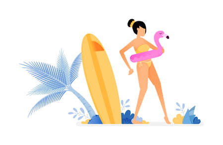holiday illustrations of woman tries to flamingo buoy and gets ready to swim. surfing board stuck near on coconut tree. vector design can be for posters, banners, ads, websites, web, mobile, marketing Ilustração