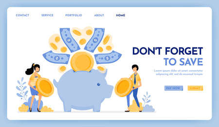 Illustration of don't forget to save. People hold coins to put in savings, financial and investment. Money flew into piggy bank. Design concept for banner, landing page, web, website, poster, ui ux