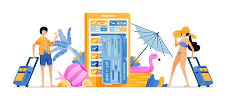 People choose flight tickets to tropical countries for summer vacation. Mobile apps for purchasing airline tickets. Illustration can be used for landing page, banner, website, web, poster, brochure