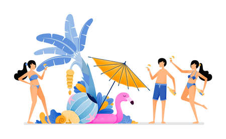 People on holiday to tropical island beach. Tourist enjoying party in beauty maldives beach during summer vacation. Illustration can be used for landing page, banner, website, web, poster, brochure