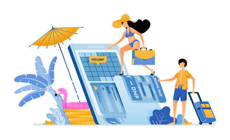Choose date of plane ticket for vacation to tropical island beach. Purchase vacation tickets to bali with mobile apps. Illustration can be used for landing page, banner, website, web, poster, brochure